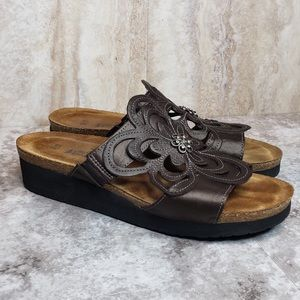 NAOT Sandy Slides Brown Wedge Sandals Leather 39